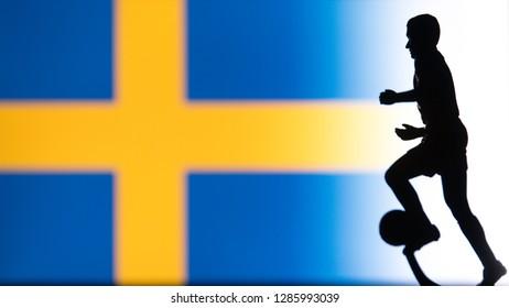 Sweden National Flag. Football, Soccer player Silhouette