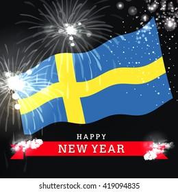 Sweden New year Flag Fireworks background
