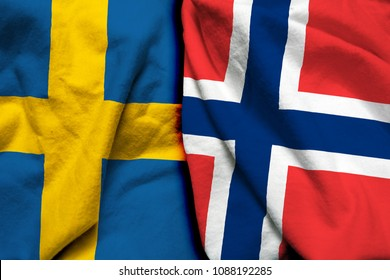 Sweden and Norway flag together