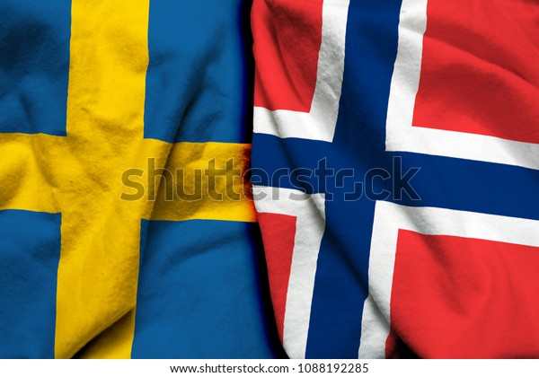 Sweden Norway Flag Together Stock Photo (Edit Now) 1088192285