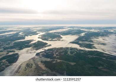 Sweden Scandinavian coast drone aerial landscape sea sunrise