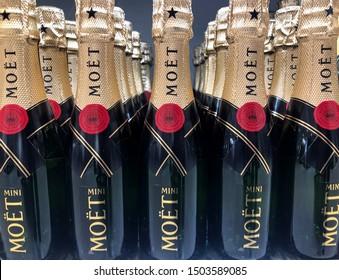 Malmö, Sweden - September 13, 2019:Bottles of champagne Moet & chandon on a shelf