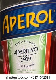 Malmö, Sweden - september 7, 2018: bottle of aperol