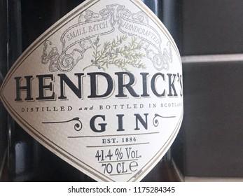 Malmö, Sweden - september 7, 2018: hendricks gin bottle close up