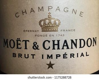 Malmö, Sweden - september 7, 2018: Moet & Chandon champagne label in close up
