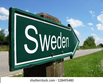 Sweden signpost along a rural road