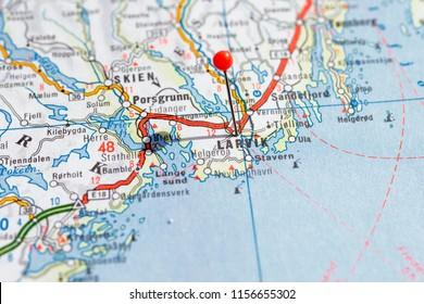Sweden Stockholm, 07 April 2018: European cities on map series. Closeup of Larvik