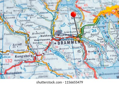 Sweden Stockholm, 07 April 2018: European cities on map series. Closeup of Drammen