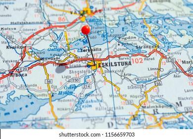 Sweden Stockholm, 07 April 2018: European cities on map series. Closeup of Eskilstuna