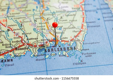 Sweden Stockholm, 07 April 2018: European cities on map series. Closeup of Karlskrona