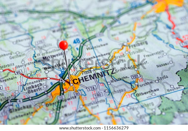 Sweden Stockholm, 07 April 2018: European cities on map series. Closeup of Chemnitz