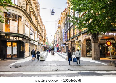 SWEDEN, STOCKHOLM - JUNE 13, 2017: View of Queen Street (Drottninggatan). Drottninggatan is main pedestrian shopping street in Stockholm.