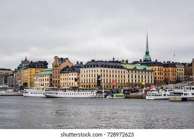 SWEDEN, STOCKHOLM - JUNE 13, 2017: View of the embankment in Stockholm with ships.