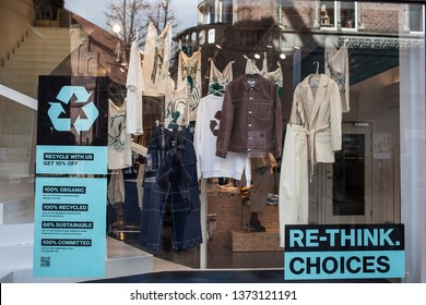 Sweden, Stockholm, March 2019. Storefront with clothes made from recycled materials. The concept of zero pollution and eco-friendly lifestyle acute social problems