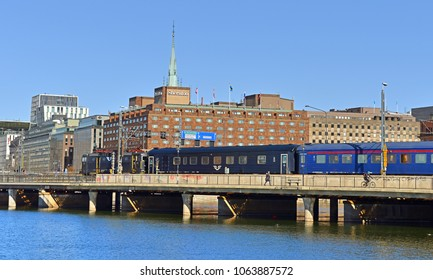 SWEDEN, STOCKHOLM - MARCH 27, 2018: Central Bridge (Centralbron) on background of Sheraton hotel