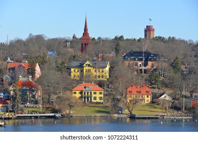 SWEDEN, STOCKHOLM - MARCH 27, 2018: View of city from sea