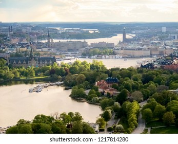Sweden, Stockholm - May 16, 2011. Beautiful view of Stockholm city from TV tower Kaknastornet.