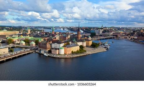 SWEDEN, STOCKHOLM - SEPTEMBER 09 2014, Aerial view. Stockholm. Old houses, buildings and streets