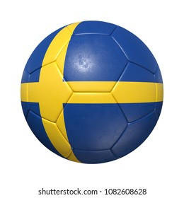 Sweden Swedish soccer ball with national flag. Isolated on white background. 3D Rendering, Illustration.
