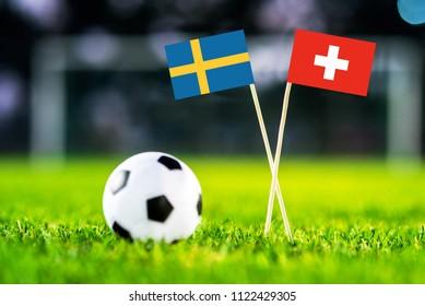 Sweden and Switzerland flag on green grass.