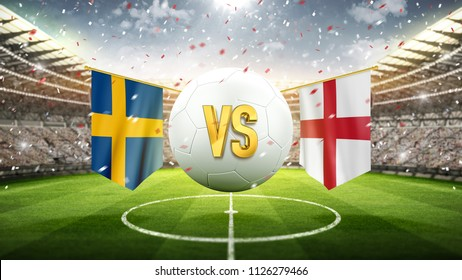Sweden vs England. Soccer concept. White soccer ball with the flag in the stadium, 2018. 3d render