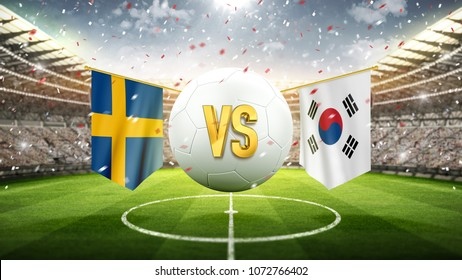 Sweden vs South Korea. Soccer concept. White soccer ball with the flag in the stadium, 2018. 3d render