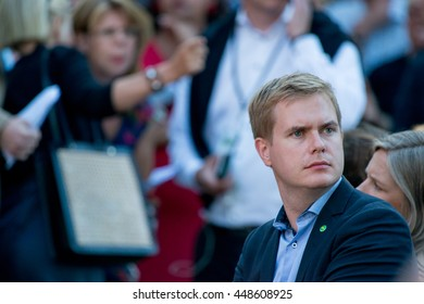 Sweden's Education Minister and leader of the Green Party Gustav Fridolin attends a speech given by Sweden's Prime Minister Stefan Lofven at Almedalen Week 2016, in Visby on July 5 2016
