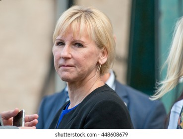 Sweden's Foreign Minister Margot Wallstrom attends a speech given by Sweden's Prime Minister Stefan Lofven at Almedalen Week 2016, in Visby on the island of Gotland on July 5 2016