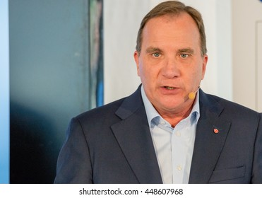 Sweden's Prime Minister Stefan Lofven speaks to the press before giving a speech at Almedalen 2016, in Visby on the island of Gotland on July 5 2016