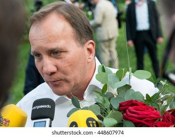 Sweden's Prime Minister Stefan Lofven speaks to the press after giving a speech at Almedalen 2016, in Visby on the island of Gotland on July 5 2016