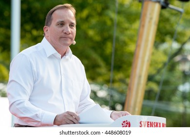 Sweden's Prime Minister Stefan Lofven gives a speech at Almedalen 2016, in Visby on the island of Gotland on July 5 2016, launching a new initiative to combat segregation in Swedish society