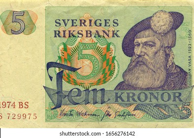 Swedish 5 Crowns (Krona, Kronor) 1974. Shows portrait of Swedish King Gustav I (Gustav Vasa) (1523-1560). Old paper money banknote, vintage retro, Sweden, circa 1974