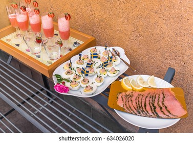 Swedish aperitif with boiled eggs and smoked salmon for Midsummer Festival