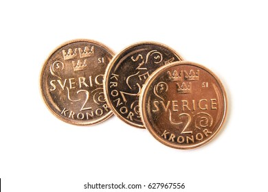 Swedish coins isolated on white