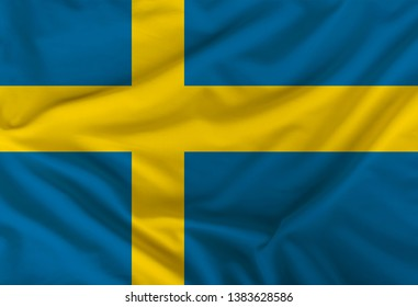 Swedish colored flag depicted on silk fabric with soft folds