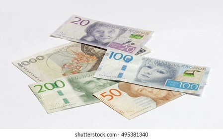 Swedish currency 20, 50, 100, 200 SEK, new layout 2016 laying on a table