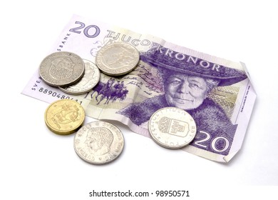 Swedish currency and coins closeup