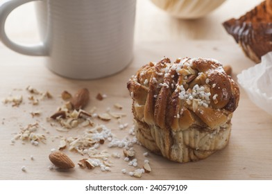 Swedish fika with homemade cinnamon bun.