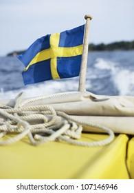 Swedish flag on ship