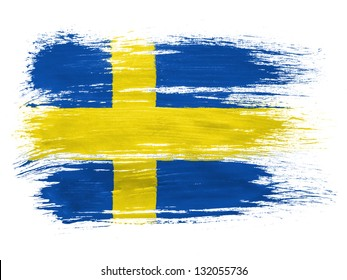 The Swedish flag  on white background