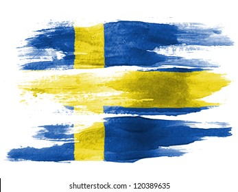 The Swedish flag painted on white paper with watercolor