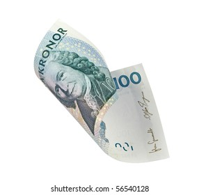 Swedish hundred kronor bill, isolated on white with clipping path