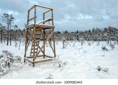 Swedish hunting tower in winter scenery
