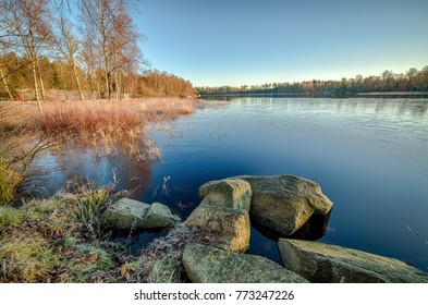 Swedish lake i December morning light