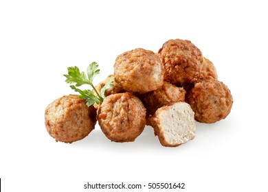 Swedish meatballs with a parsley leaf