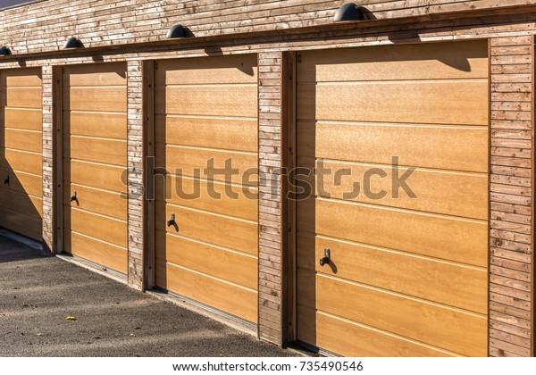 . Swedish Modern Wooden Garage Doors Texture Stock Photo  Edit Now