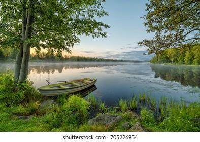 Swedish morning landscape in summer season
