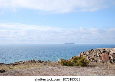 The swedish national park - the island Bla Jungfrun - seen from the island Oland in the Baltic Sea