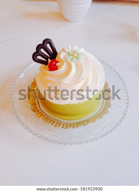 Swedish Princess Cake in the cafe