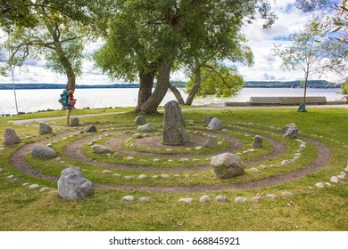 Swedish runes - Nordic stones - Viking inscription in Sigtuna - tourist attraction